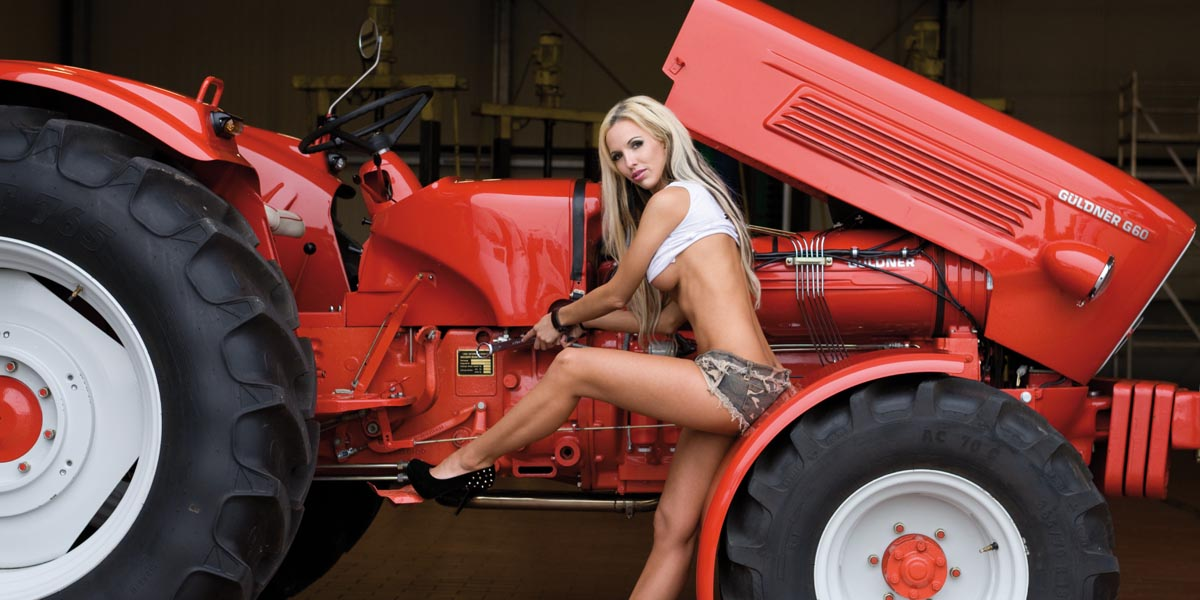 Naked country girls on tractor